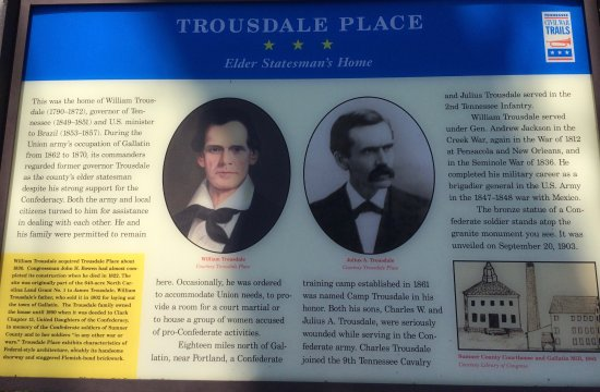 Gallatin, TN: Tennessee Civil War Trail marker for Trousdale Place.