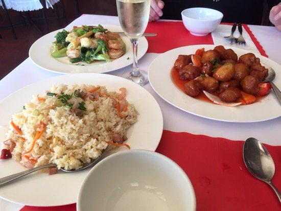Dromana, Australia: Rice, Sweet & Sour Pork and Garlic Prawns.. yum!