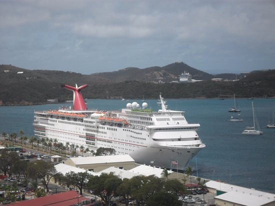 South Coast, St. Thomas: View of cruise ship from Paradise Point