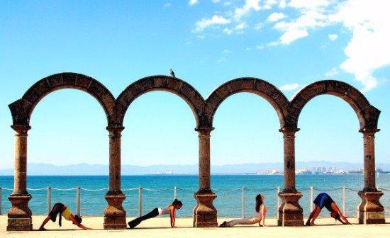 "Yoga Vallarta: Puerto Vallarta's historic landmark ""Los Arcos"" in the Malecon (boardwalk)"