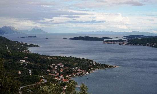 View of Viganj, Peljesac, Croatia, with Korcula in the background right