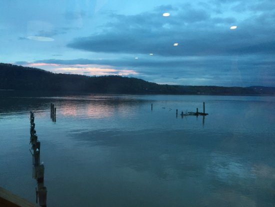 Hastings on Hudson, NY: Sunset view from table.