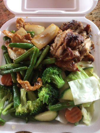 Ontario, OR: Chicken teriyaki, mixed veg and chicken and green beans