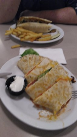 Breezewood, PA: Sorry it is a bit blurry, but Ordered the Quesadilla and my friend had the Philly Cheesesteak