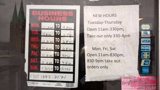 Utica, NY: Business Hours.