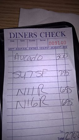 Utica, NY: My bill for 3 people. Prices are reasonable. Food is very good!!