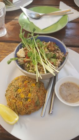 Tomakin, Australia: corn and kale felafel with rice and quinoa salad - wholesome and yum!