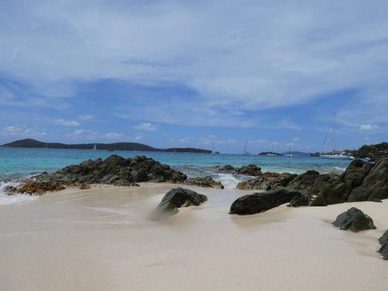 Caneel Bay, St. John: This is the north end of Honeymoon Beach. Most of the beach is wide open without coral or rocks.