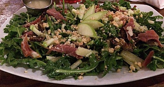 Hillsboro, OR: The apple and arugula salad is so tasty, and the ratio of accompaniments to the greens is perfec