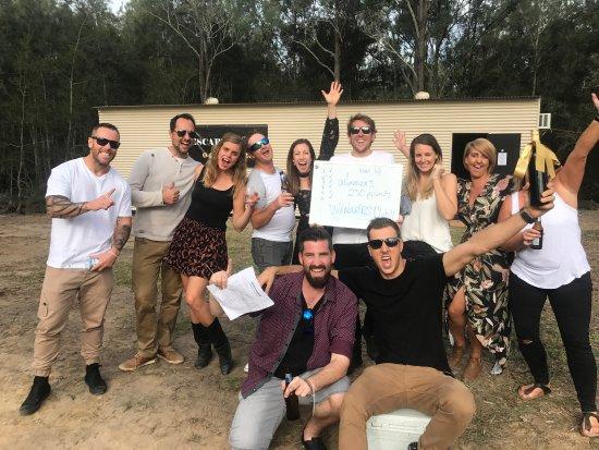Pokolbin, Australien: Lovely customers!!! Having fun at the Wine Escape Room