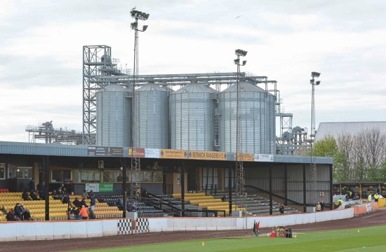 Berwick upon Tweed, UK: The spectator grandstand at Shielfield Park, Berwick