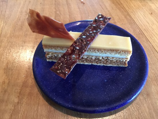 Oldstead, UK: Cake made from Artichoke, Chicory Root and Thyme