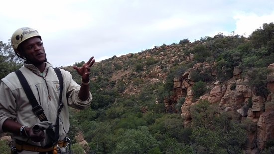 Magaliesberg Canopy Tour: Our guide explaining the flora and fauna to us.