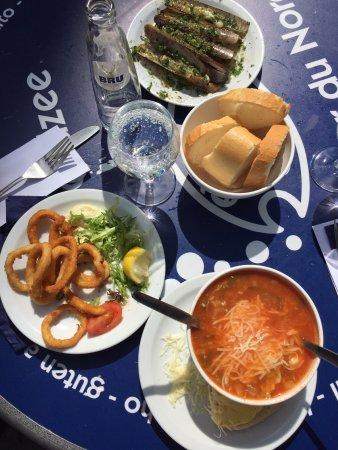 Noordzee Mer du Nord : Fried calamari, razor clams, fish souop..