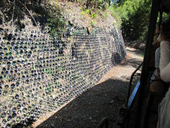 Coromandel, New Zealand: ... and perhaps drained every bottle. Imaginative retaining wall