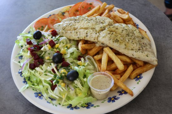 Lezignan-Corbieres, Francja: Dos de Lieu noir  accompagné de salade et frites