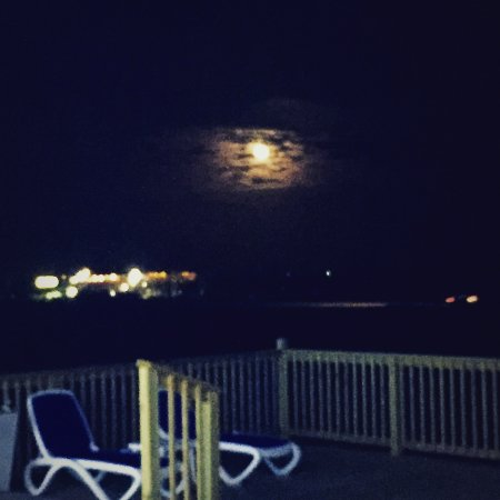 Galveston Island, TX: Night view from the deck.