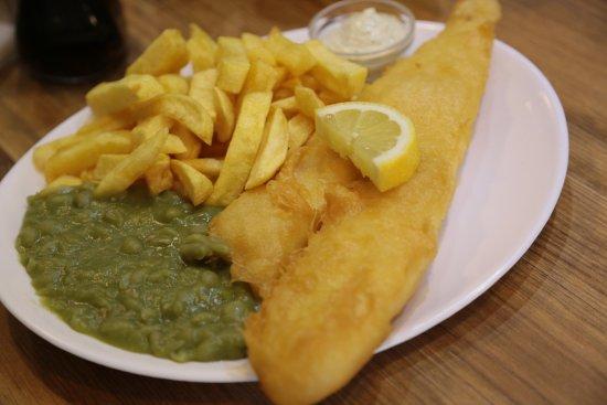 Crispy Cod : Cod,Chips and Mushy Peas