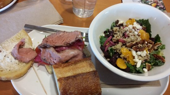 Buford, GA: Beet Citrus Salad and Steak Arugula sandwich