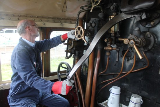 Bury, UK: At the controls of a steam locomotive