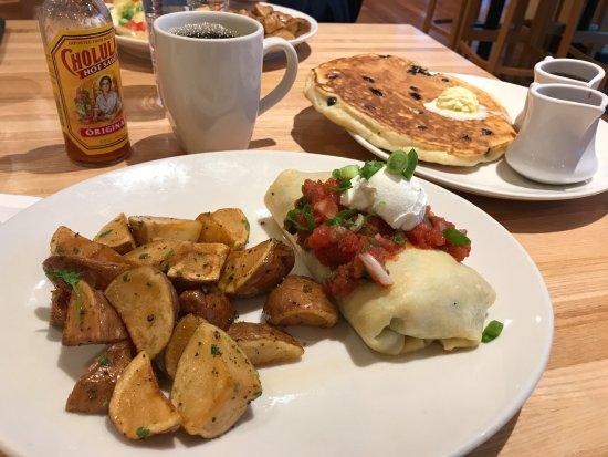 Olathe, KS: Breakfast burrito, seasoned potatoes, and blueberry pancake