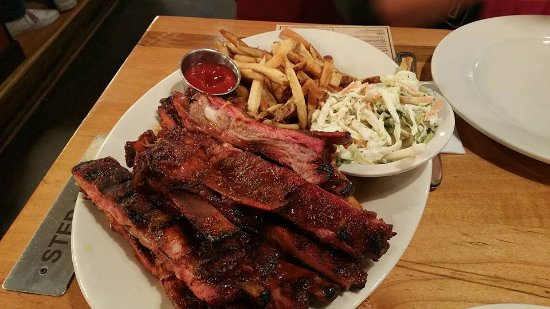 Smyrna, TN: This is 3 pounds of Ribs. We took home 5. The fries were soggy. Coleslaw awesome.