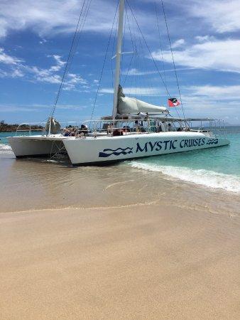 St. John's, Antigua: Mystic Cruises Catamaran at beach stop