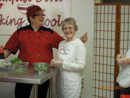 Galena, IL: Helping Susan prepare the pea pods.