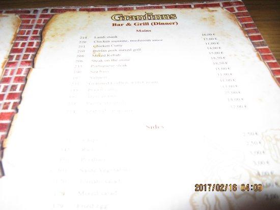 Menu picture of granfinus restaurant bar terrace for Terrace restaurant menu