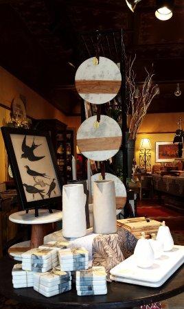 Washington, VA: White marble platters and coaster sets, handmade ceramic pitchers, John Derian framed print.