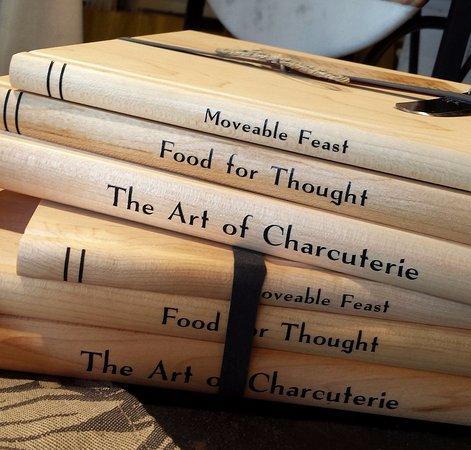 "Washington, VA: Cute ""Moveable Feast"" cutting boards created as a stack of books."