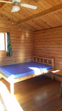 "Saint Johnsville, NY: Larger bed in our ""Queen of Diamonds"" Cabin."