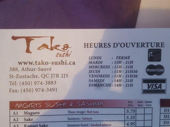 Saint-Eustache, Canada: Restaurant Tako Sushi Bar
