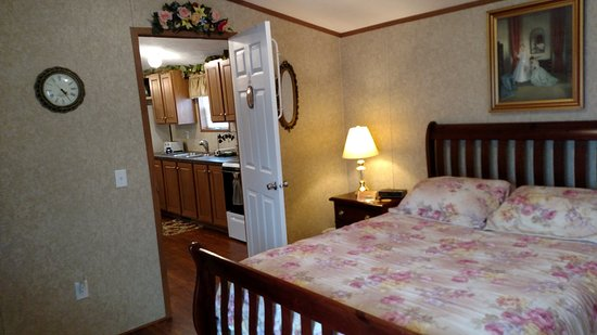Aaronsburg, Pensilvania: Gold N' Roses Bedroom with Queen Sized Bed