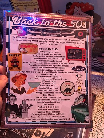 Alcoa, TN: Back of the Menu. Lots of interesting things on the walls to look at from the bygone 50's era.