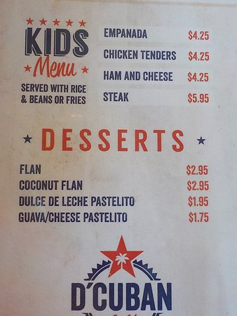 Norcross, GA: D' Cuban Cafe Menu