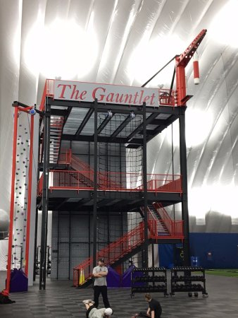 Hilliard, OH: The Gauntlet. HUGE multistory climbing, running, torture contraption!