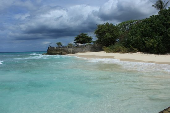 Saint Michael Parish, Barbados: Picturesque beach, Ft Charles on the northern boundary of property