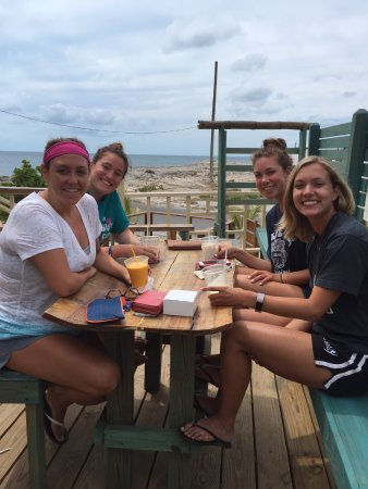 Governor's Harbour, Eleuthera: Teachers in training getting a smoothie break-well deserved