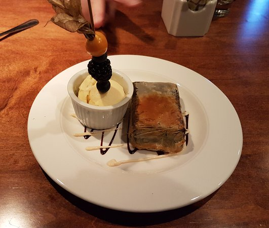 Orangeville, Canada: Chocolate Brownie Wrapped in Phyllo Pastry with Vanilla Ice Cream