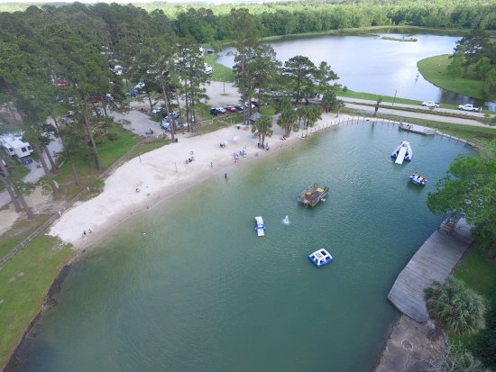 Eunice, LA: Ariel image of the swimming hole and fishing lake after a rain.