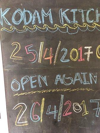 KoDam Kitchen: 25/4/2017 close. Open 25/4/2017