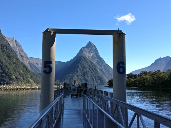 Te Anau, New Zealand: View down Milford Sound from the boarding jetty