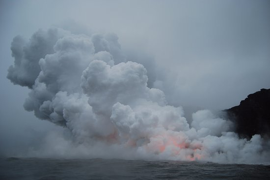 Pahoa, Χαβάη: View of the lave-flow from the boat (2)
