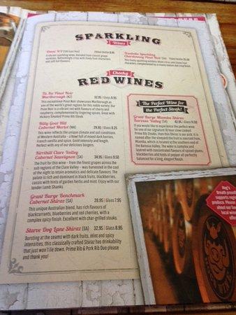 Mindarie, Avustralya: Page from wine menu
