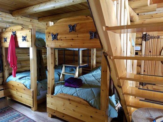 Madawaska, ME: Bunkbeds and staircase to loft bedroom