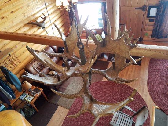 Madawaska, ME: View from loft bedroom - handmade moose antler light