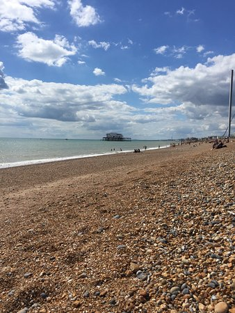 Brighton Beach: The beach and the old pier