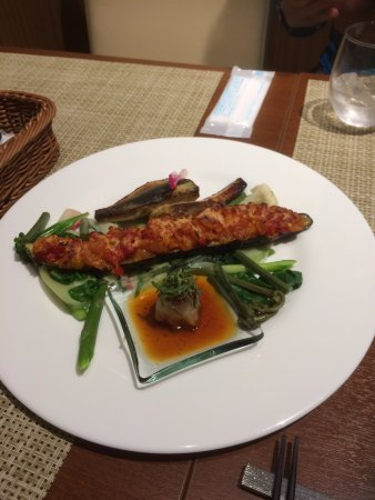 Kikugawa, Japón: stuffed eggplnt, with roasted pepper, pan fried fish, miso style