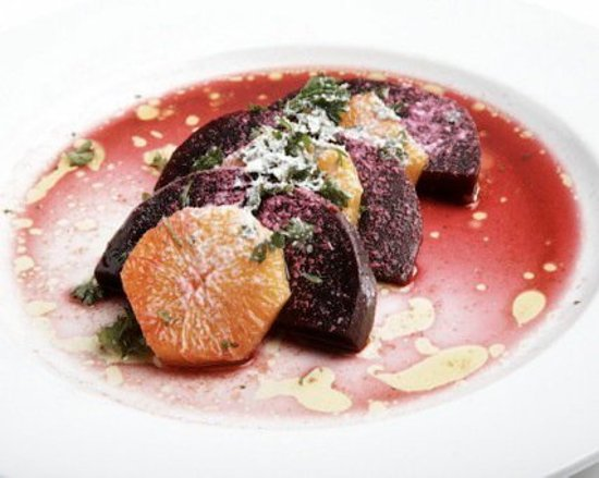 Saugerties, NY: Beet and Orange salad with Goat Cheese Snow